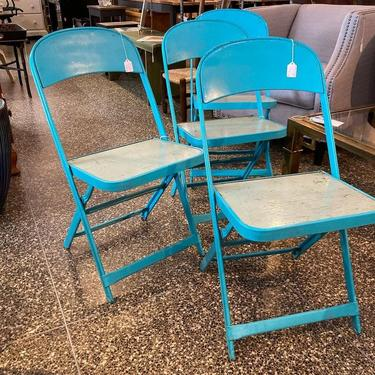 """Vintage blue metal with wood seats folding chairs. 4 available 15.5"""" x 13.5"""" x 30.5"""" seat height 17"""""""