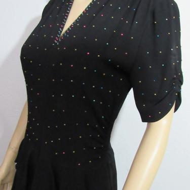Vintage 1940s Black Studded Cocktail Dress Pin Up Dress Medium by GraveyardVintage