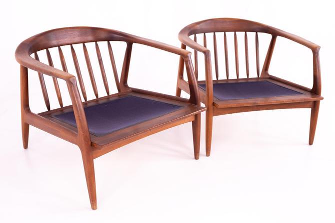 Danish Style Milo Baughman for Thayer Coggin Mid Century Cooper Walnut Barrel Lounge Chairs - Pair by ModernHill