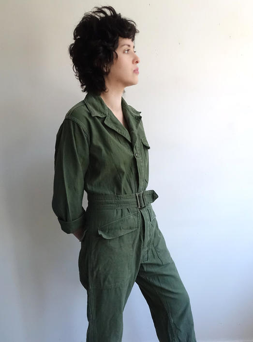 eb4e0856570c Vintage 70s Army Green Coveralls  1970s Jumpsuit  Belted og-107 ...