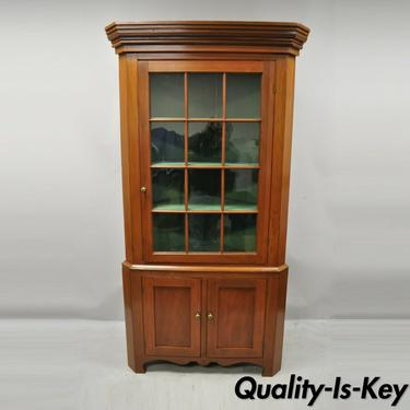 American Primitive Colonial Cherry Wood Wavy Glass Corner Cupboard China Cabinet