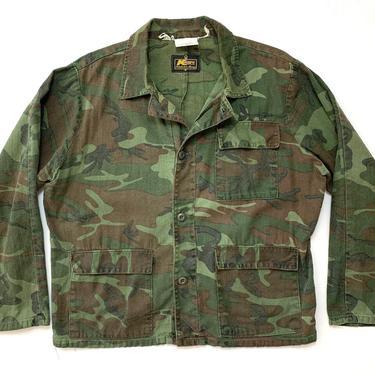 Vintage 1970s K MART Camouflage Cotton Twill Shirt / Jacket ~ size M to L ~ Post Vietnam War ~ Civilian Camo by SparrowsAndWolves