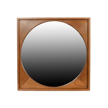 Teak Mirror Round Mirror in Square Frame Danish Modern by HearthsideHome