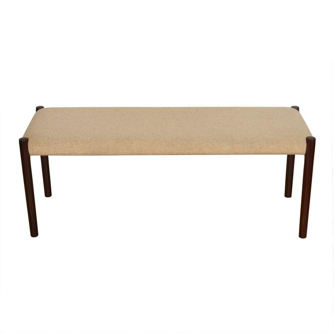 Danish Modern Rosewood Upholstered Bench by Niels Mller