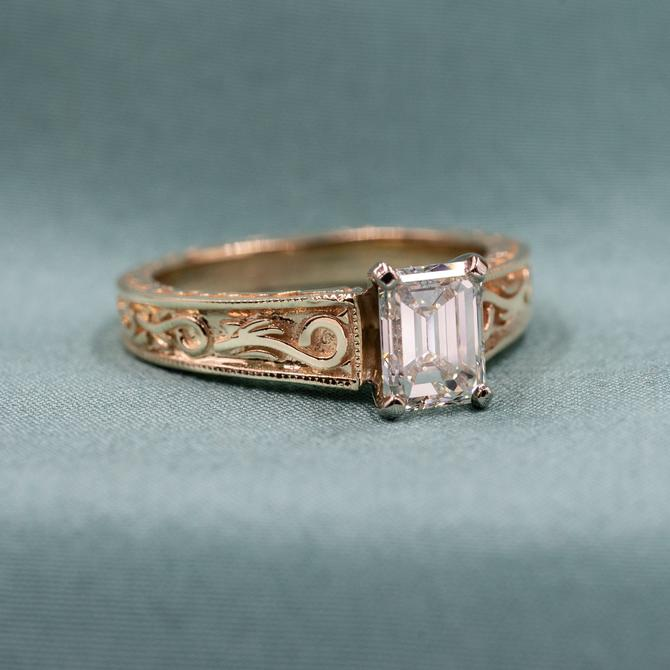 Adorned Emerald Cut Diamond Solitaire c1980