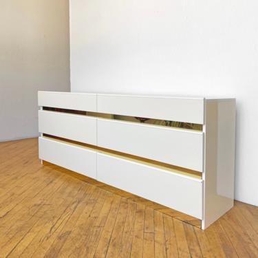 Vintage Lacquer Dresser Brass 80s 90s Postmodern Cream Laminate by 330Modern
