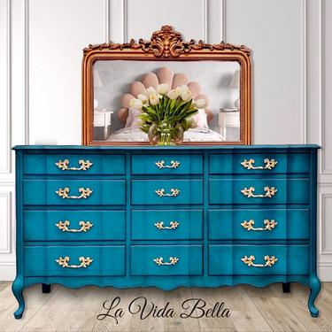 Stunning French Console, Vintage, Peacock, French Provincial, Buffet, Sideboard, Dresser, Entryway Piece. by LaVidaBellaDesign