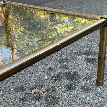 1970s Mastercraft Brass Faux Bamboo Coffee Table by HollywoodHillsModern