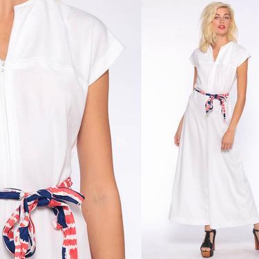 White 70s Jumpsuit Bell Bottom Pants Wide Leg Boho 1970s Front Zip Disco Hippie Bohemian Plain One Piece Vintage Pantsuit Medium by ShopExile