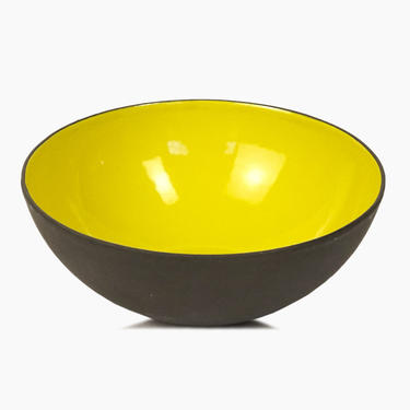 Danish Krenit Enameled Bowl Herbert Krenchel Yellow Small Mid Century Modern by VintageInquisitor
