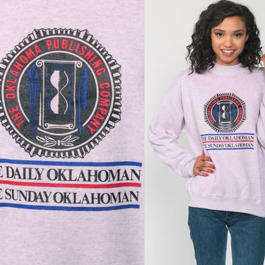 Oklahoma Sweatshirt 80s The Daily Oklahoman Newspaper Graphic College Slouchy 90s Reporter Sweater Grunge Vintage Crewneck Medium Large by ShopExile