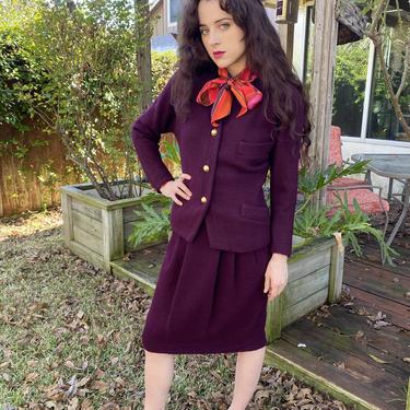 Vintage 80s Donna Karan Wool Burgundy Blazer Jacket Skirt Power suit XS S by prismavintageatx