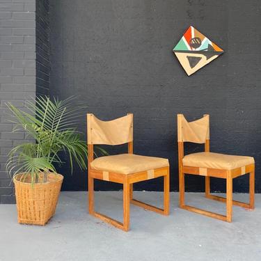 Mocha Vinyl Sling Back Wooden Chairs \/ Priced Per Pair