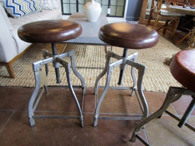 SET OF FOUR INDUSTRIAL LEATHER SWIVEL BAR STOOLS PRICED SEPARATELY