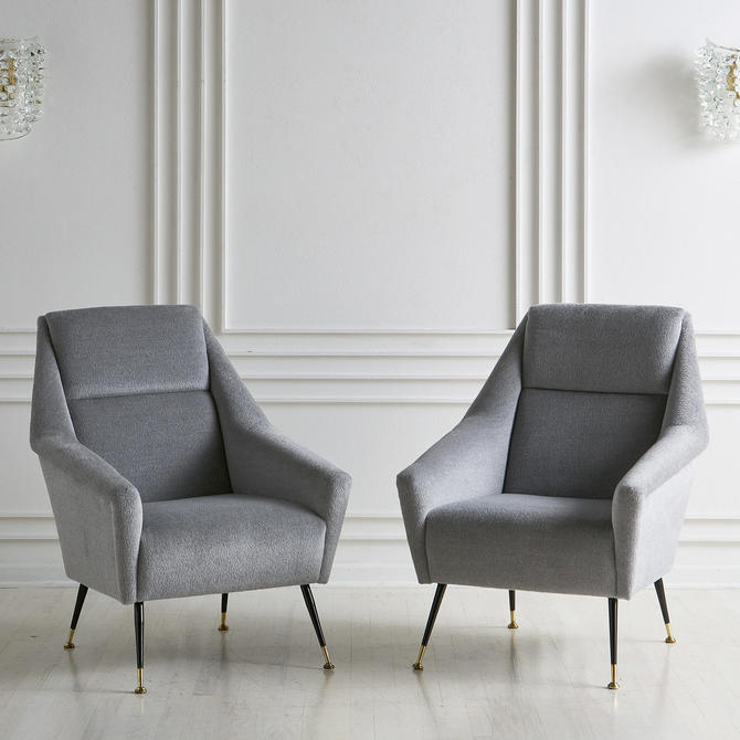 Pair of Italian Mid Century Lounge Chairs in the style of Marco Zanuso