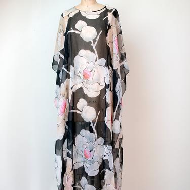 1970s Floral Print Caftan / 70s Sheer Maxi Dress by FemaleHysteria