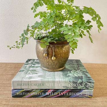 Vintage Brass Planter With Rope Design - Rustic Brass Planter - Small Brass Hammered Planter - Made in India by SoulfulVintage