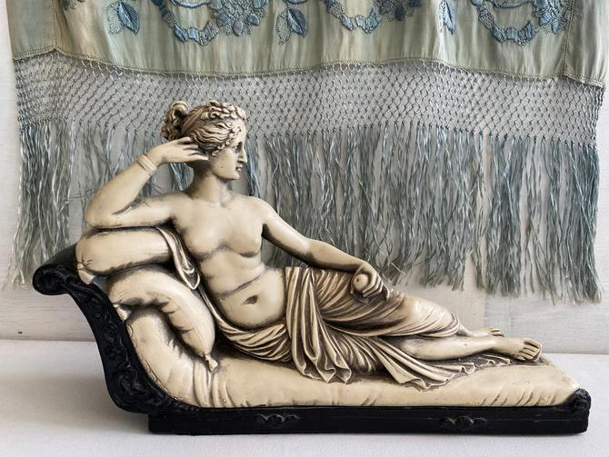Vintage Pauline Bonaparte Reclined On Sofa, Partial Nude With Draping, Marwal, Greek Italian Roman Art Decor, Hollywood Regency by luckduck