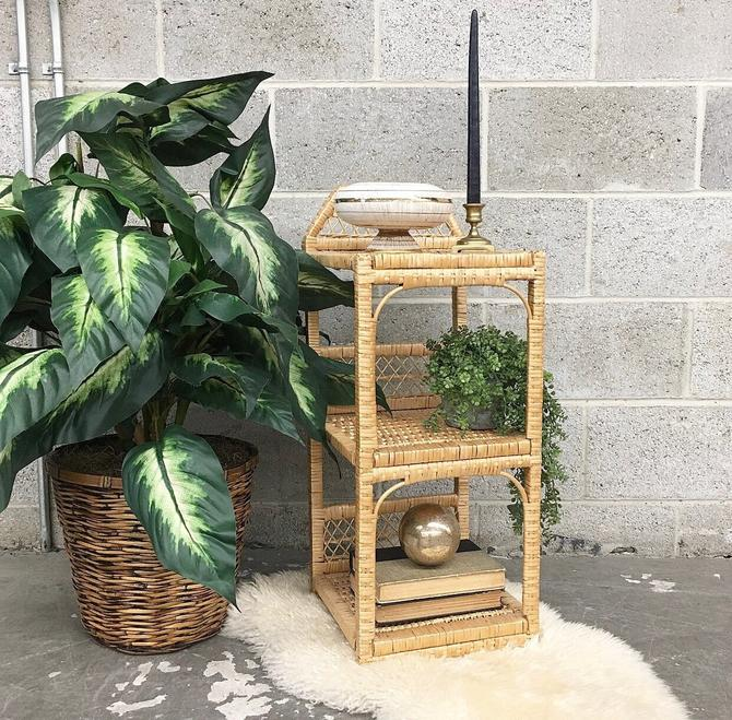 Vintage Shelving Unit Retro 1980s Straw and Rattan + Three Tier + Tan + Woven Design + Open Shelving + Plant Stand or Bathroom Storage by RetrospectVintage215
