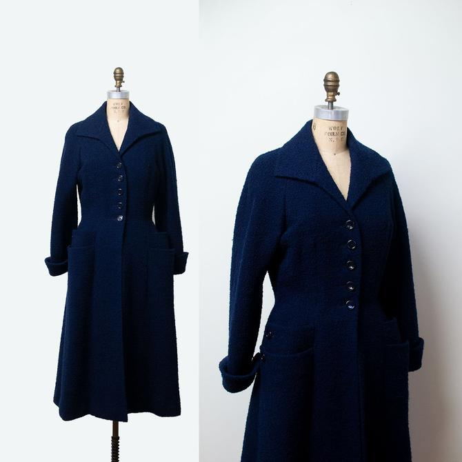 1950s Princess Coat / 50s Sophie Gimbal Saks Fifth Avenue Navy Blue Boucle  Coat by FemaleHysteria