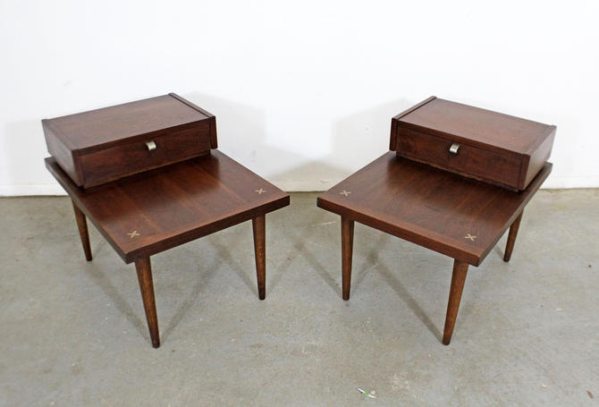 Vintage Mid-Century Modern End Tables by Merton L. Gershun for American of Martinsville PAIR of Two-Tier Side Tables by AnnexMarketplace