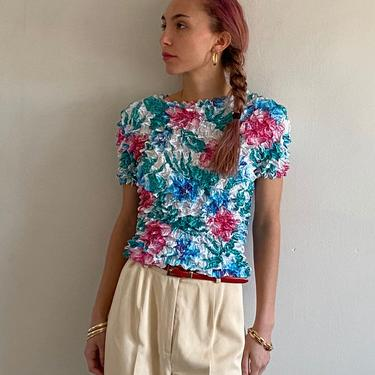 90s popcorn cropped top blouse / vintage floral scrunchy crinkled popcorn short sleeve cropped crop top tee   one size by RecapVintageStudio
