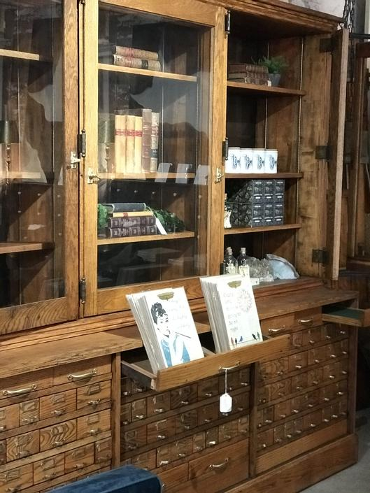 Vintage hardware store wall unit