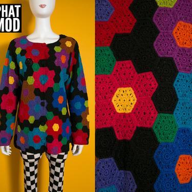 WOW Michael Simon Vintage 90s Rainbow Hexagon Crochet Knit Cardigan Sweater by RETMOD