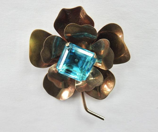 Mid Century Square Cut Aqua Glass on Metal Flower Brooch by LegendaryBeast