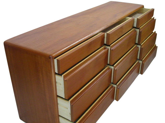 Danish Modern Teak 12 Drawer bedroom Dresser / Credenza From Nordisk- Near MINT
