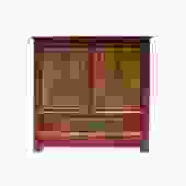 Distressed Rustic Chinese Tibetan Floral Red Yellow Side Table Cabinet cs5712S