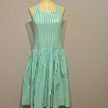 Vintage Seafoam Striped Summer Picnic Dress by citybone