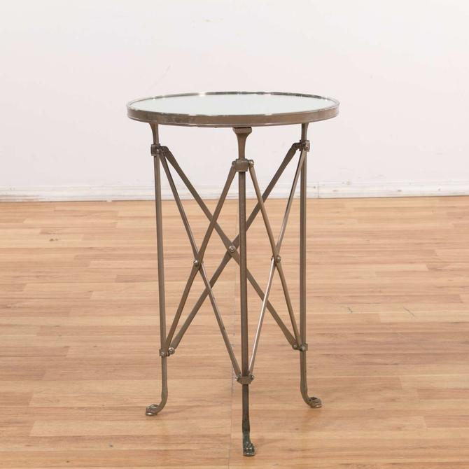 Silver Mirror Top Round End Table