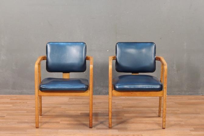 Mid Century Cobalt Vinyl & Maple Armchair