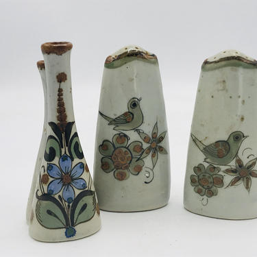 Vintage Mexican Ken Edwards Palomar Tonala Pottery Salt and Pepper Shaker and Bud Vase Mexico-Hand Made-Decorative- Hand Painted- by JoAnntiques