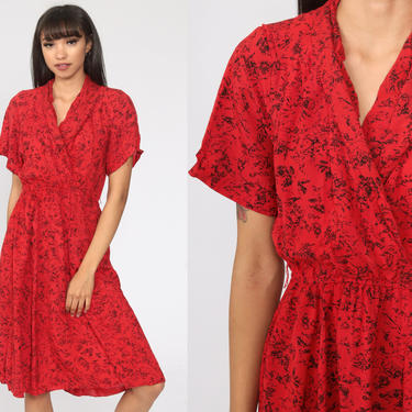 Red Wrap Dress 80s Boho Red Abstract Print Summer Midi Short Sleeve 1980s Deep V Neck Bohemian Vintage High Waist Small Medium by ShopExile