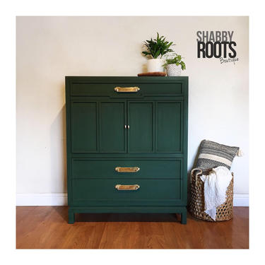NEW! Dark Emerald Green vintage mid century modern tall dresser chest of drawers with gold brass hardware- San Francisco Bay Area by ShabbyRootsBoutique