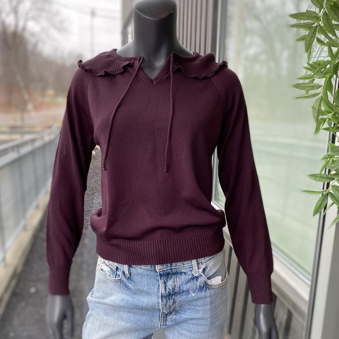 GIVENCHY SPORT Vintage 1980s Ruffle Collar Knit Long Sleeve Pullover Top - Size Medium - Plum by AIDSActionCommittee