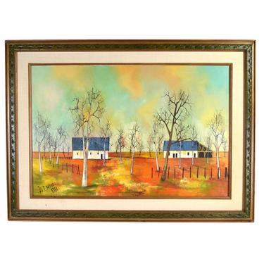 1968 French Midcentury Modern Abstract Oil Painting Landscape w Farm Brulere by PrairielandArt