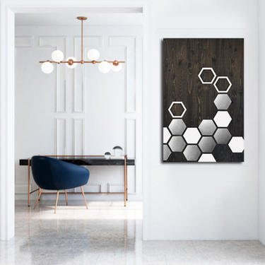 Metal Wall Art, Wood Wall Art, Modern Painting, Geometric Art, Mid Century Modern, Large Minimalist Contemporary Abstract Sculpture by LauraAshleyWoodArt