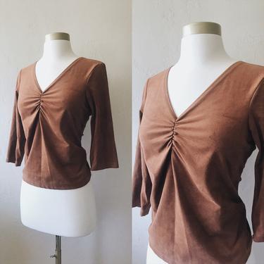 Vintage Brown Suede 3/4 Sleeve Blouse by FolkandCup