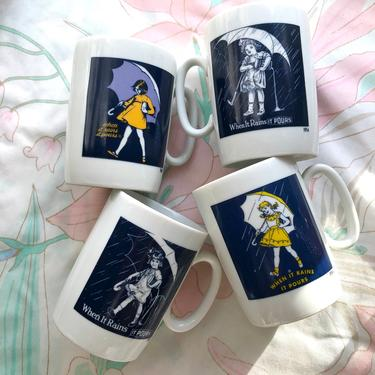 """Morton Salt Mugs, Collectable """"When it Rains it Pours"""" Set of 4 Styles, Ceramic Coffee/Tea Mugs, Years 1914-1968 by AMORVINTAGESHOP"""