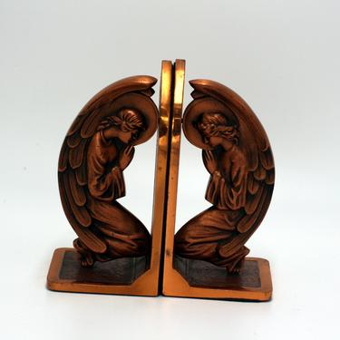 vintage copper angel bookends/praying angels/religious bookends by suesuegonzalas