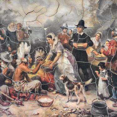 """RARE! Gorgeous 1930s Jig Saw Picture Puzzle - Pilgrims """"Peace Feast"""" - 14""""x9"""""""" Puzzle -  106 Pieces - PUZZLE LOVERS! 