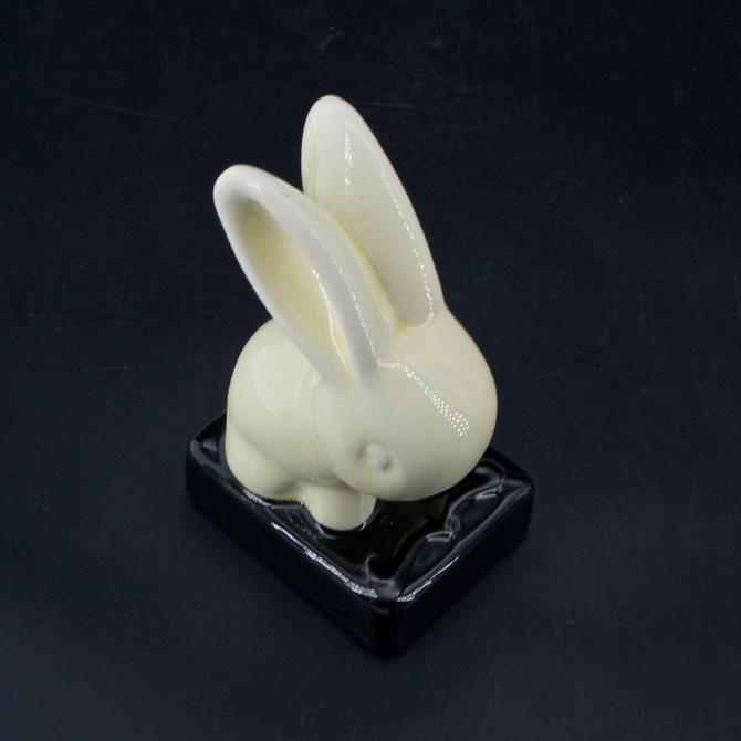 Ceramic Bunny Rabbit Vintage Mid-Century Statuette Cartoon Minimalist Form by BrainWashington