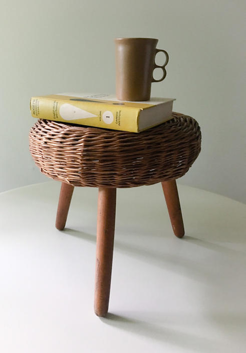 Tony Paul Wicker Rattan Stool, circa 1950 by CaribeCasualShop
