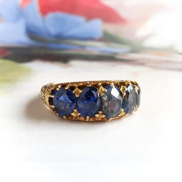 Antique Victorian 5.24ct.tw. Natural Blue Sapphire Five Stone Half Hoop Belcher Ring 18k Yellow Gold by YourJewelryFinder