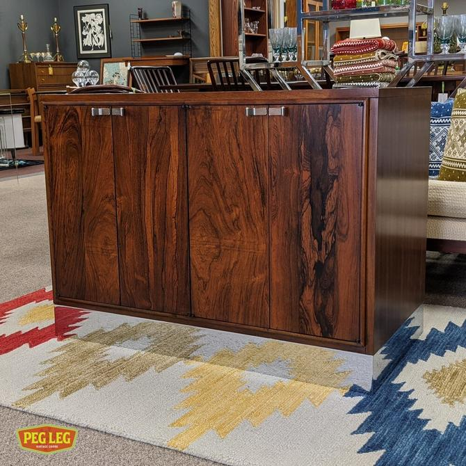 Mid-Century Modern rosewood cabinet with polished chrome base