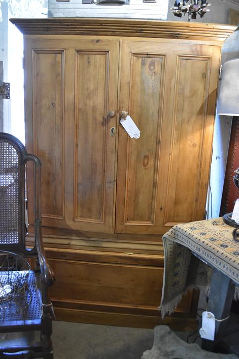 Aged Two-Piece Pine Cupboard