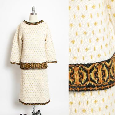 1960s Ensemble Wool Knit Skirt & Sweater Set S by dejavintageboutique